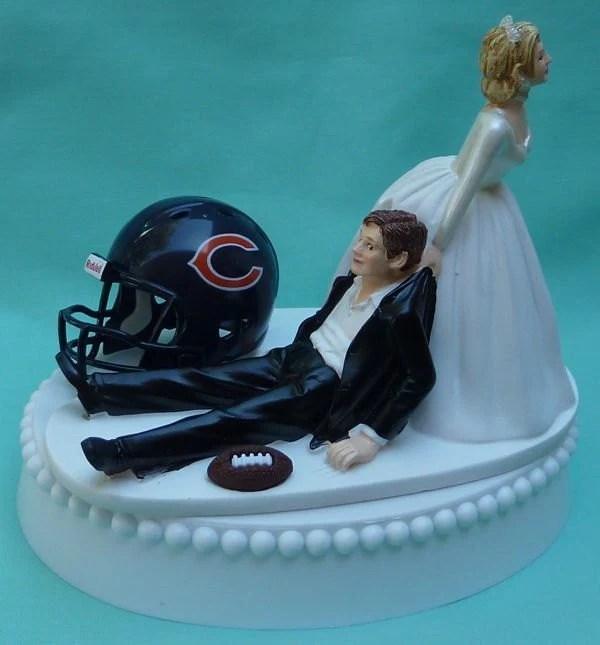 Wedding Cake Topper Chicago Bears Football Themed w Garter