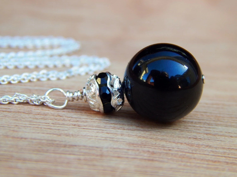 Black bridesmaid necklace, swarovski bride bridal necklace black- wedding jewelry - Beadedgemshop