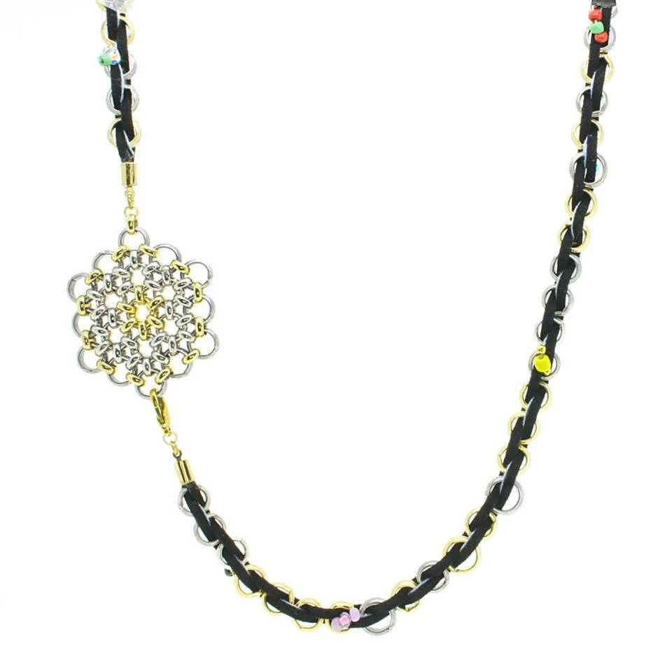 Black leather necklace, flower of life pendant, long necklace with beads - streetcats