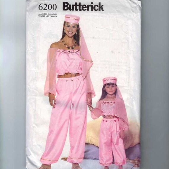 Costume Sewing Pattern Butterick 6200 Misses Girls Genie Belly
