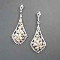 Vintage Style Bridal Earrings Ivory Pearl Wedding Earrings