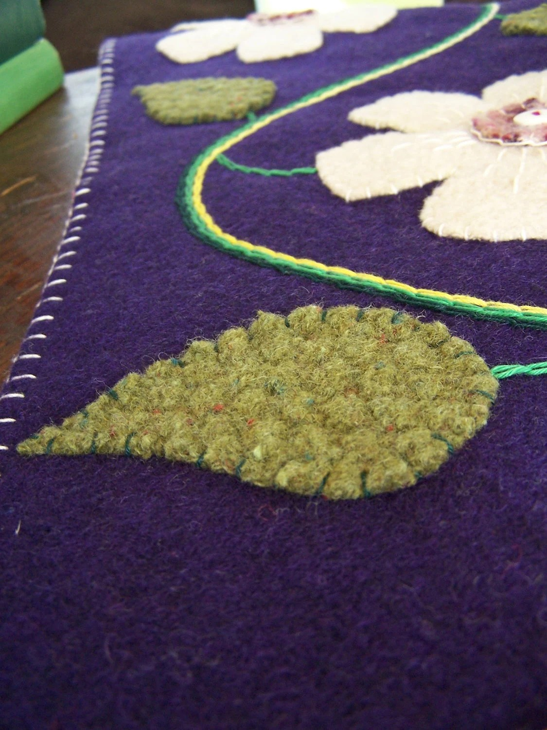 Wool Felt Applique Table Runner with Flowers