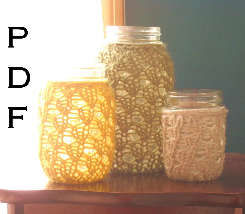 PDF Knitting Pattern Lace Knit Mason Jar Centerpieces DIY