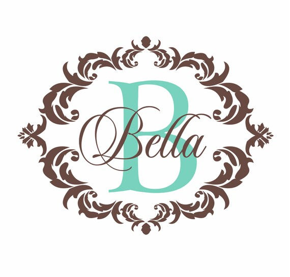 Baby Girl Nursery Wallpaper Borders Items Similar To Name And Initial Vinyl Wall Decal Shabby