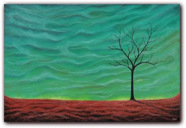 Abstract Art Surreal Landscape Painting Autumn Sky Oil