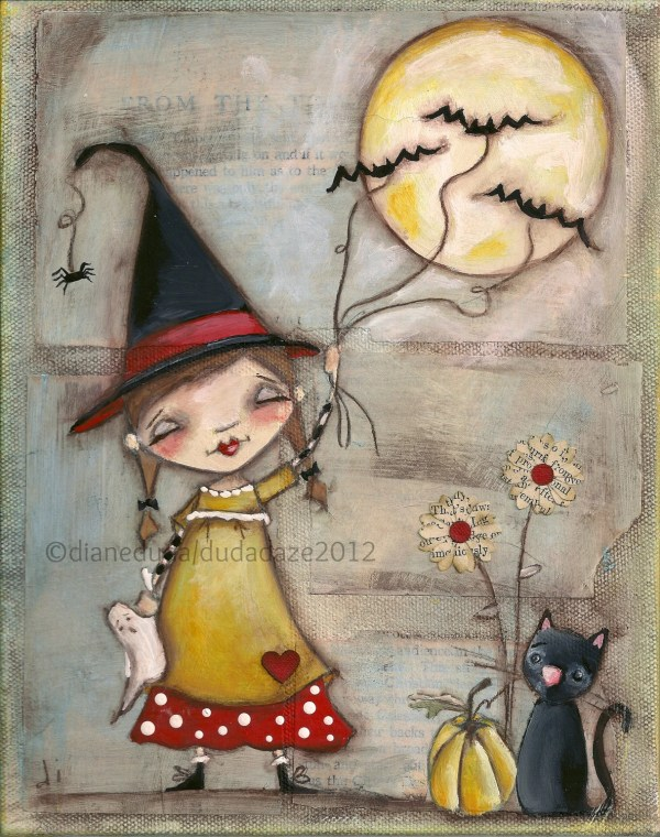 Orignal Folk Art Whimsical Halloween Painting Canvas