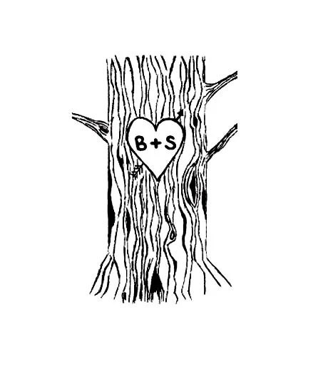 Custom Tree Trunk with Lovers Heart and carved by terbearco