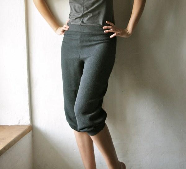 Wool Pants Grey Capri Bloomers Shorts Womens