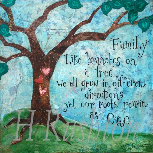 Family Quote Tree Art Mixed Media Print Home