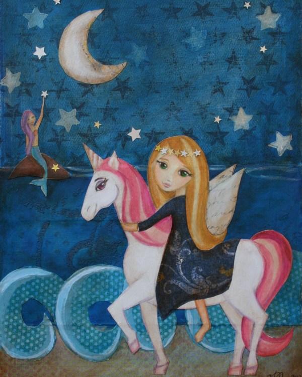 Unicorn And Mermaid Art Print Mixed Media Hrushtonart
