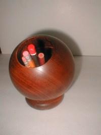 Apco Mid Century Wooden Pencil Holder Cup Wooden Orb Desk