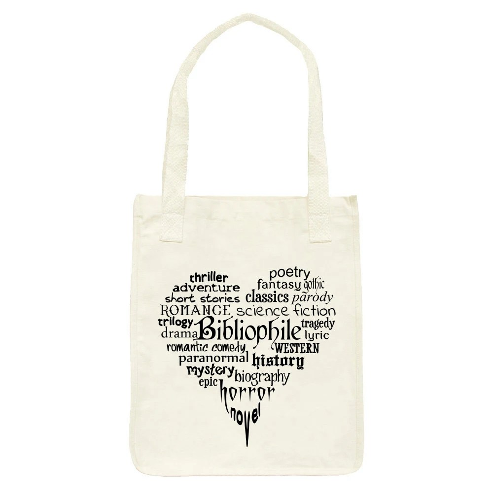 Bibliophile Book Lover Bookworm Heart Art Tote - Organic Cotton Grocery Market Bag