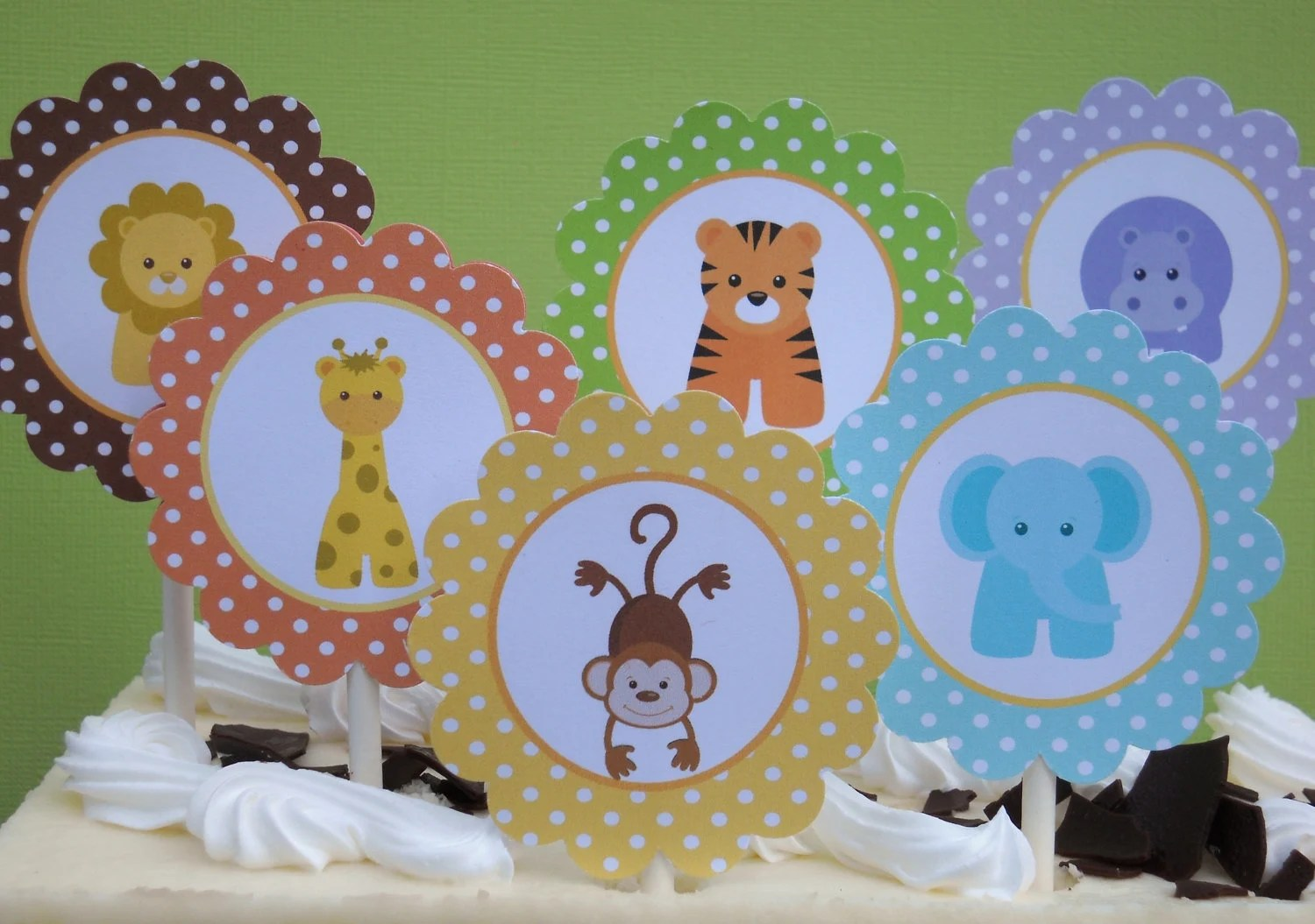 Baby Jungle Animals Printable Cupcake Toppers And Cupcake