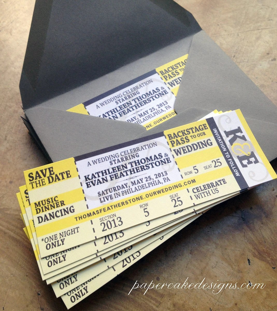 Concert Ticket Wedding Save The Date  by papercakedesigns on Etsy