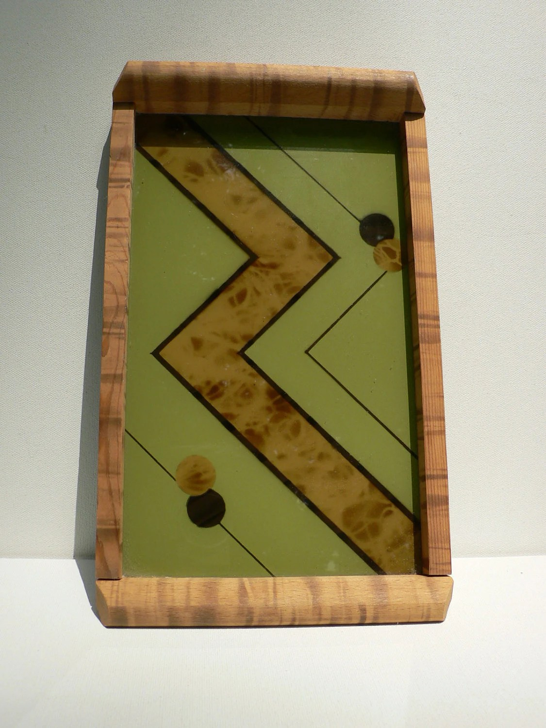 art deco french tray green glass & wood / 1930s bar ware serving tray / abstract modernist french tray