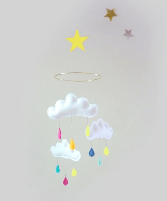 "NEW Rain Cloud Mobile for Nursery ""RAINBOW STAR"" with yellow star by The Butter Flying"