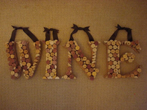 Items Similar To Wine Cork Letter Wall Decor