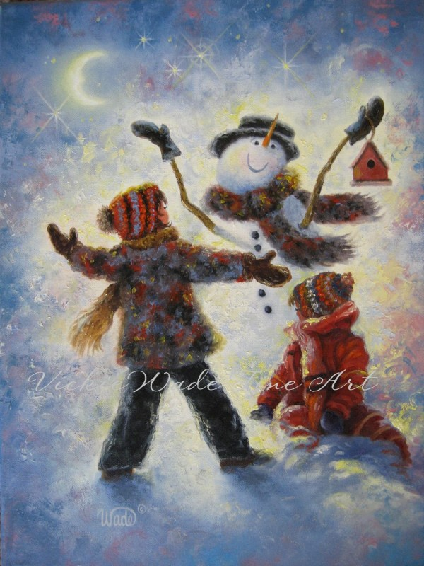 Snowman Two Girls Art Print Paintings Snow