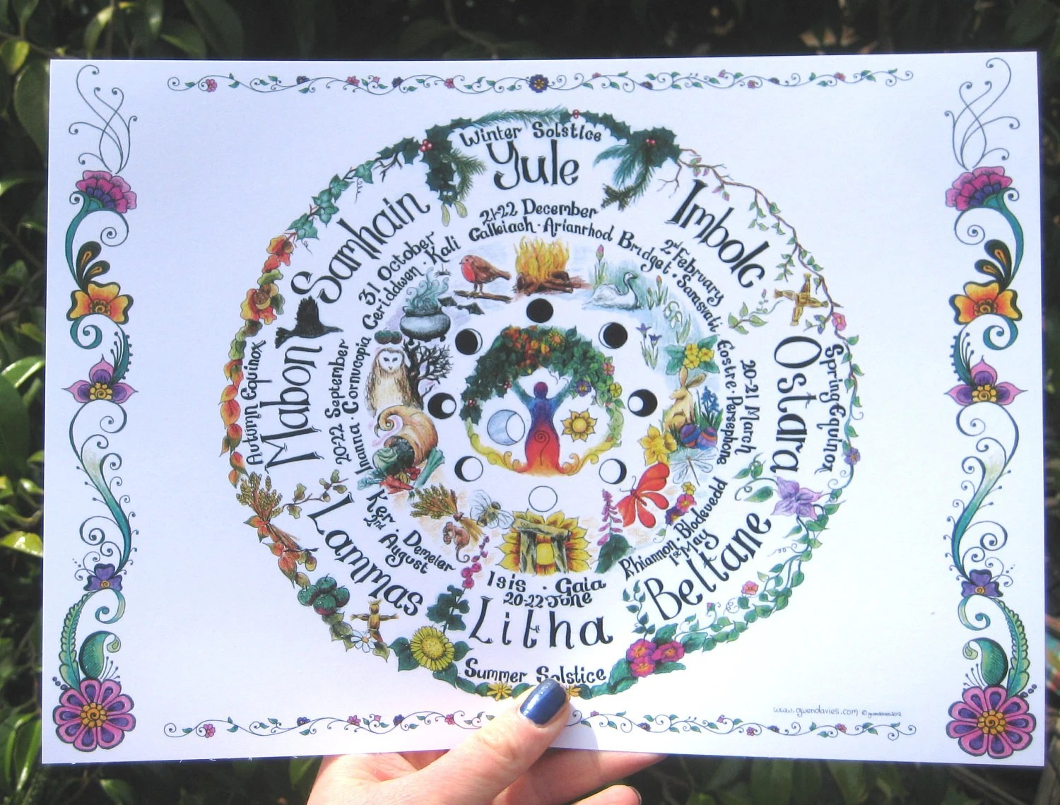Hand drawn Wheel of the Year chart A4 Pagan Hippy by