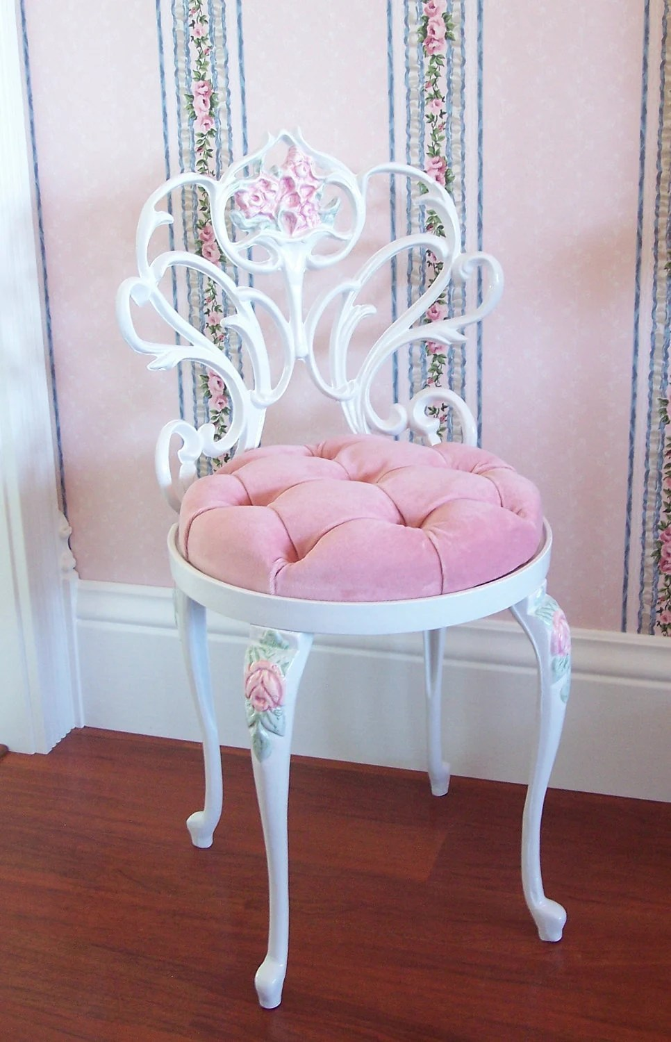 Vintage White Scrolly Boudoir Vanity Chair by pinkchicboutique