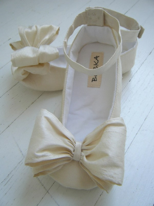 Ivory Baby Shoes Silk Ankle Strap Flower Girl Flats
