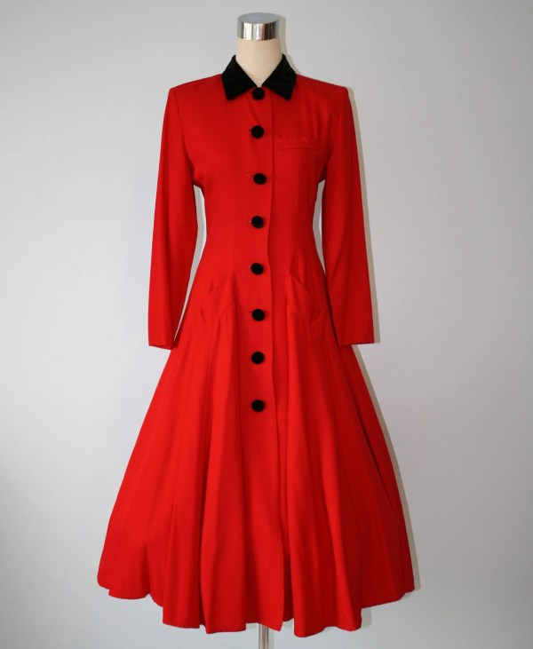 Victorian Dress Style Vintage Long Red