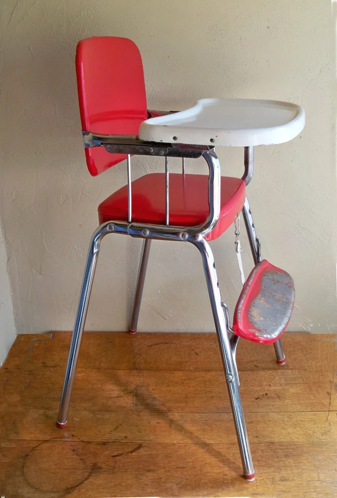 MidCentury Cosco Baby High Chair Red  Chrome Delight