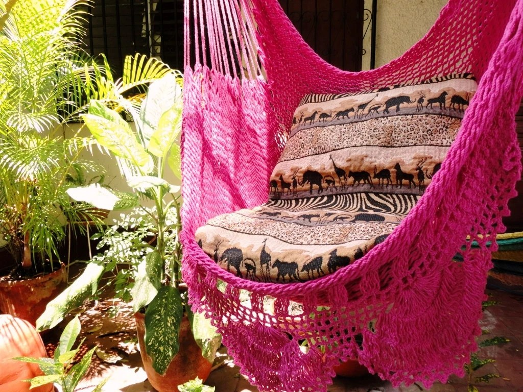 Fuchsia Sitting Hammock with Fringe Hanging Chair Natural