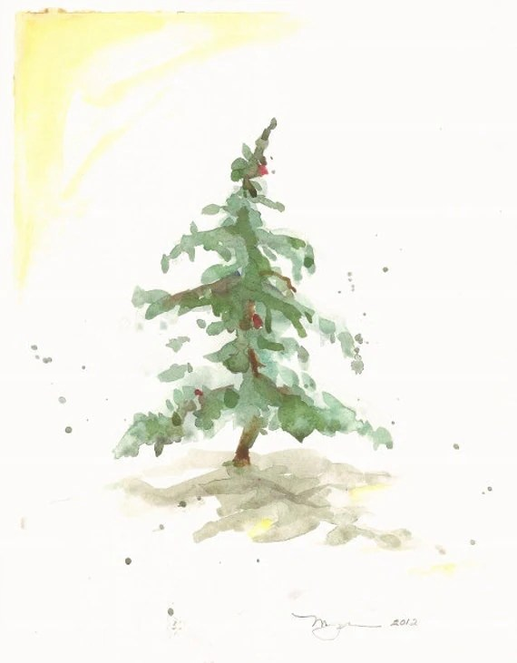 Items Similar To Fir In Snow III Holiday Watercolor Print