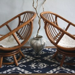 Rattan Egg Chair True Innovations Vintage Bamboo Swivel Chairs Boho Chic Set Of 2