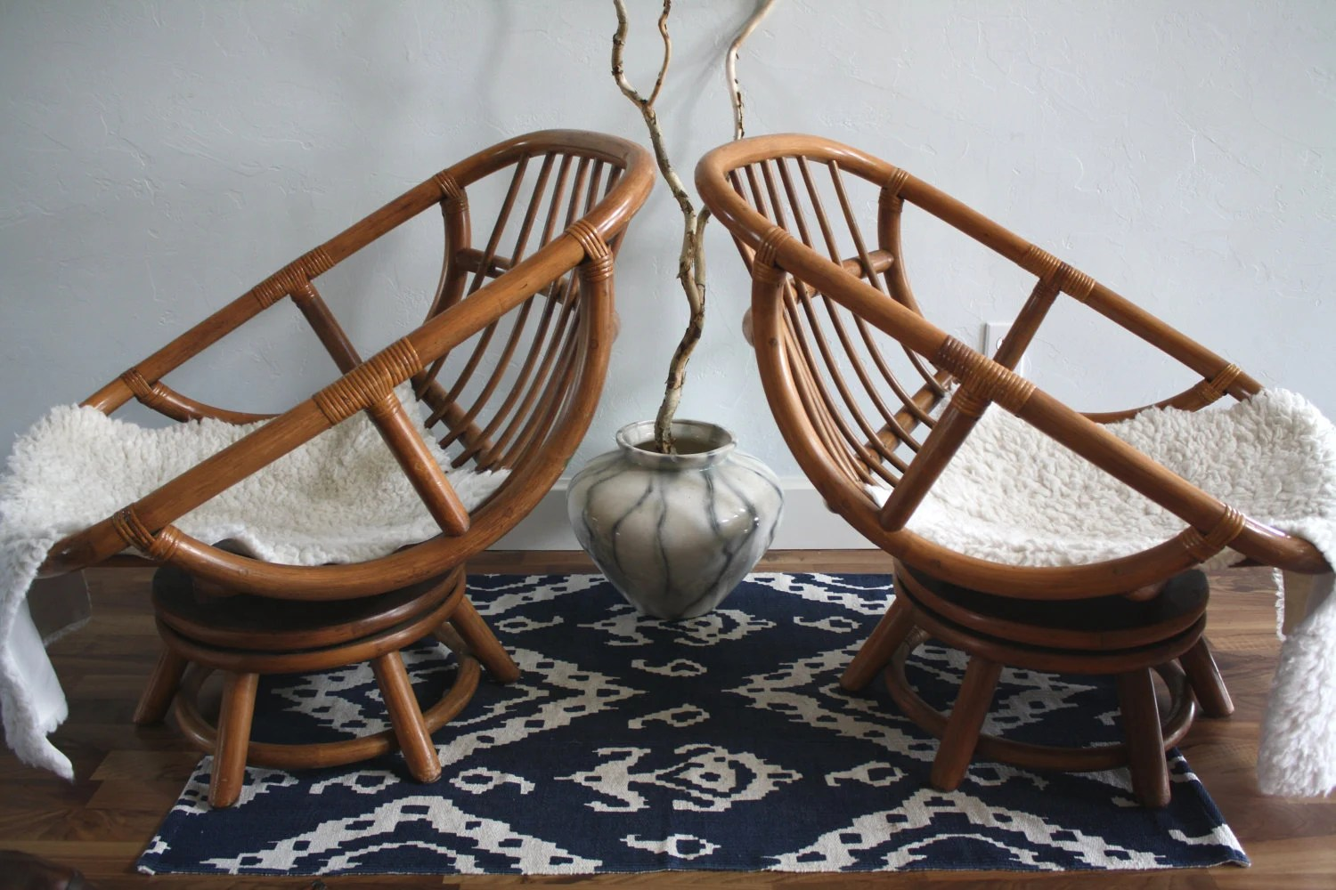 Wicker Egg Chairs Vintage Bamboo Swivel Egg Chairs Boho Chic Set Of 2 Rattan