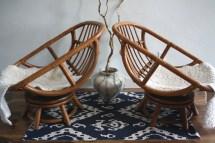Vintage Bamboo Swivel Egg Chairs Boho Chic Set Of 2 Rattan