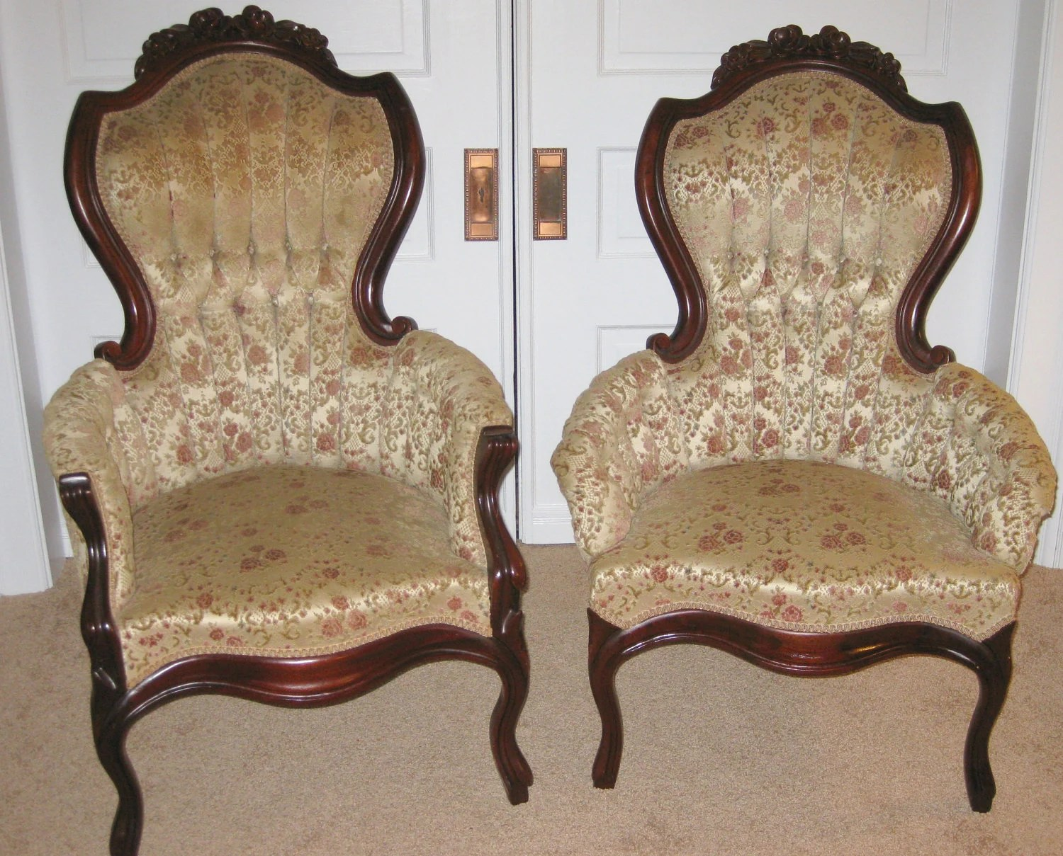 King Chairs Vintage Victorian King And Queen Chairs