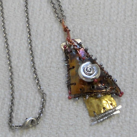 E218 OOAK Mixed Metals Necklace Wire Wrapped, Annealed and Forged Copper and Brass