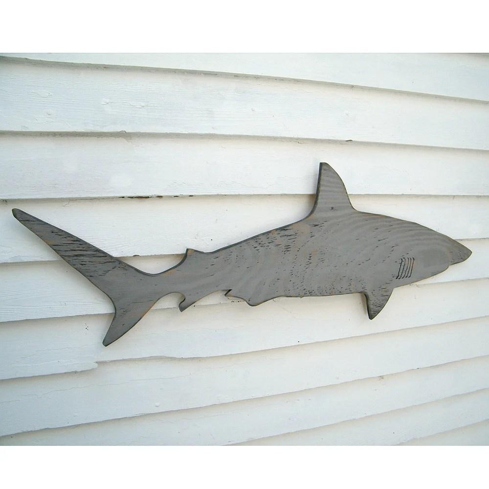 Wood Shark Sign Medium Wall Art Mako Shark Sign by