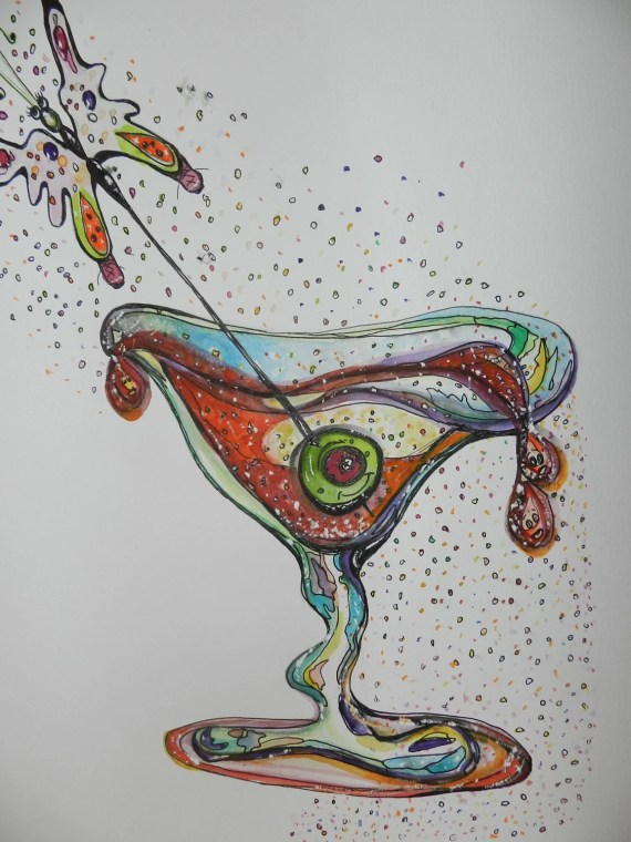 Martini, Original Watercolor Print of Martini, Martini Glass watercolor, Cosmopolitan - AngelicbyJones