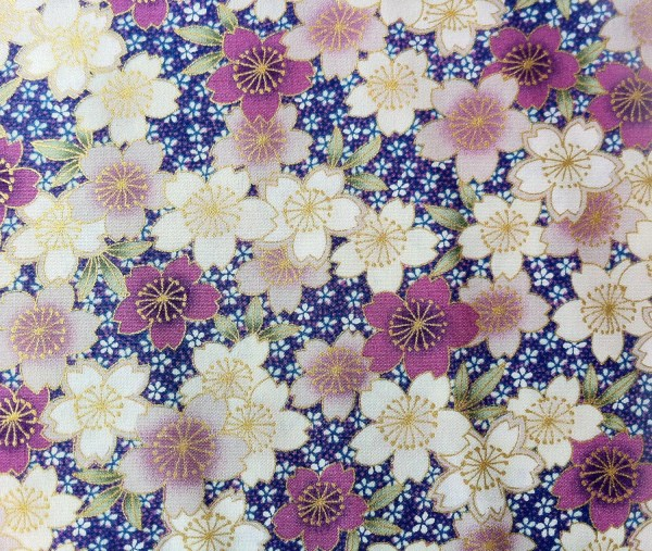 Japanese Cherry Blossom Fabric With Pink And Tomodachikitty