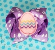 easter egg hair bow center embroidery