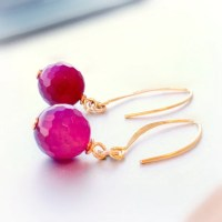 Fuschia Earrings Hot Pink Fluorescent Gold Jewelry Agate