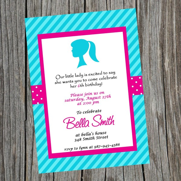 Little Lady Barbie Head Birthday Invitation. Girly Girl