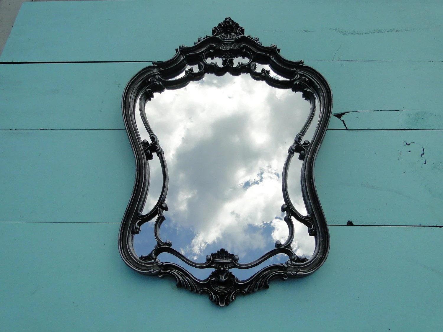 Large Ornate Vintage Mirror Wall Mirror Silver By TRWpainted