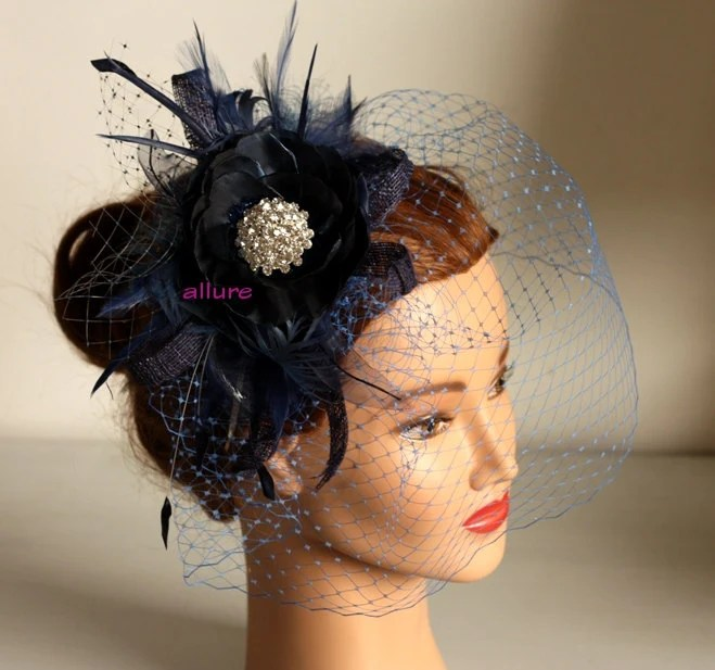 Items Similar To Fabulous BIRDCAGE VEIL Navy Blue