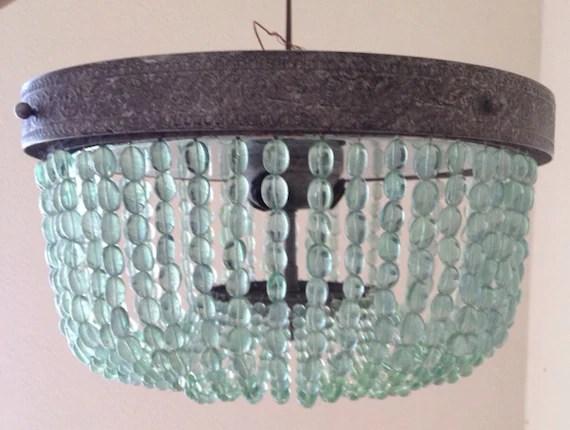 Aqua Turquoise Beaded Lighting Fixture Chandelier By