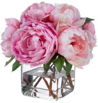 Fine Silk Floral Arrangement Faux Mixed Pink Peonies by ...