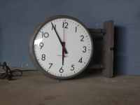 Vintage Double Sided Two Faced Industrial Wall Clock by