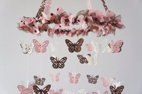 Butterfly Nursery Mobile Pink Brown And White