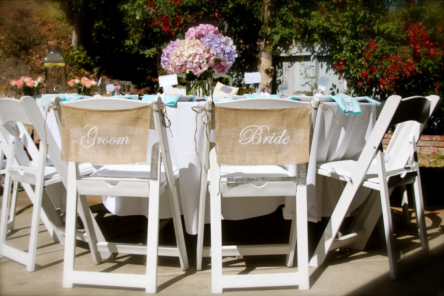 wedding bride and groom chairs unusual chair covers burlap signs by