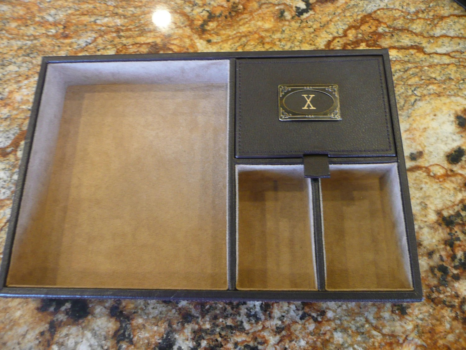 Leather Catch All Tray Mens Jewelry box