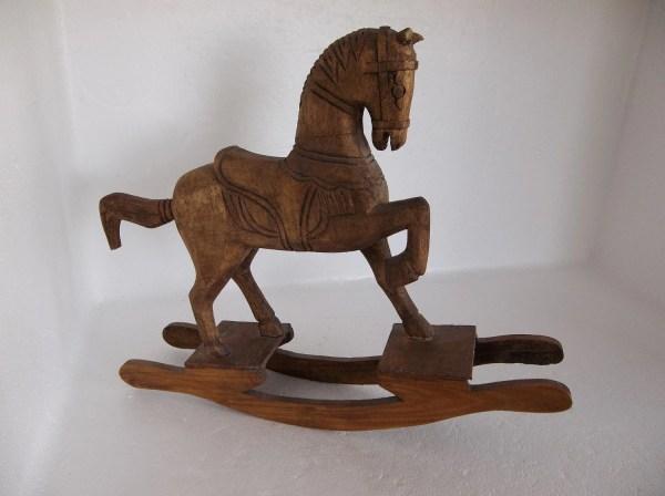 Vintage Handcrafted Brown Wooden Rocking Horse