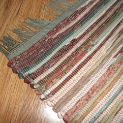 Machine Washable Kitchen Rugs Shenandoah Cabinets Hand-woven Cotton Rag Rug In Shades Of Sage Green Peach